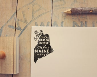 Maine Return Address State Stamp, Personalized Rubber Stamp