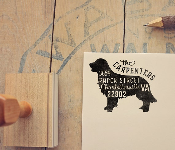 Golden Retriever Dog Return Address Stamp Dog Owner Gift Etsy