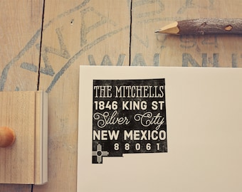 New Mexico Return Address State Stamp, Personalized Rubber Stamp
