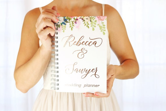 wedding planner book rose gold foil planner personalized monthly