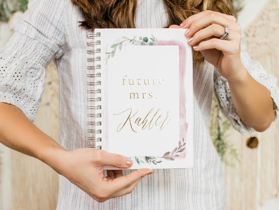 Future Mrs. Wedding Planner with Greenery, Personalized Planner, Bride to be Gift, Custom Planner Book, 12 Months Blush Pink Planner Book