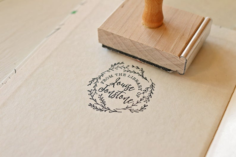Library Stamp Custom Stamp Ex LIbris Book Stamp Gift for image 0