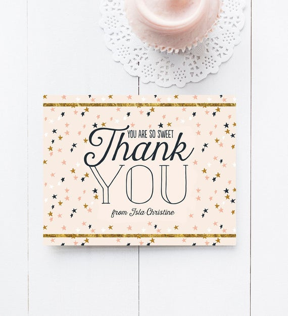 Stars Thank You Cards Twinkle Twinkle Birthday Party Thank Yous
