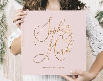 Pink and Gold Wedding Guest Book, Real Gold Foil Horizontal Wedding Book with Calligraphy Names, Hardcover Instant Photo Booth Album