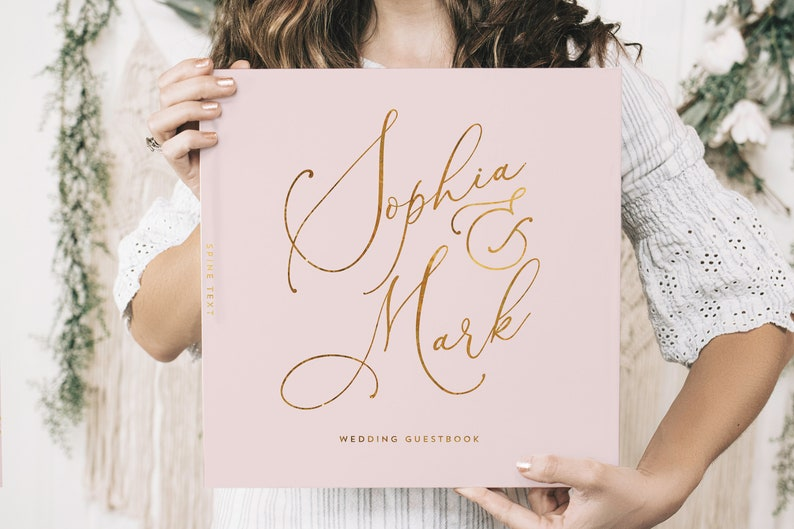 Pink and Gold Wedding Guest Book Real Gold Foil Horizontal image 0