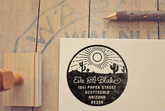 Desert Return Address Stamp Cactus Custom Rubber Circular Invitations Housewarming New Home Gift