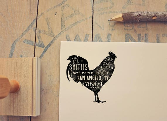Rooster Return Address Stamp Rustic
