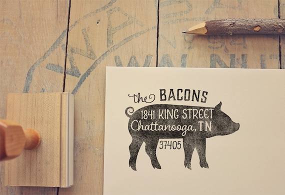 pig return address stamp custom rubber stamp farm return etsy