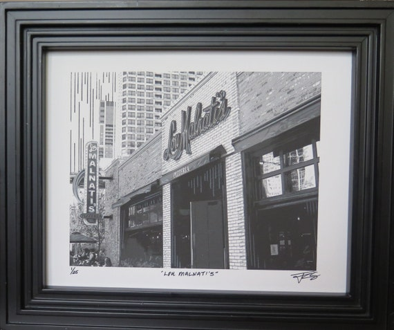 Chicago Art Lou Malnatis Pizza Italian Family Owned Restaurant Downtown Illinois Midwest Mixed Media Black 8 X 10 Or 11x14