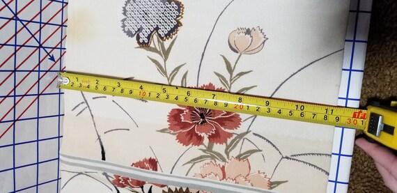Vintage Japanese OBI with off white background and sakuraplum flowers panel