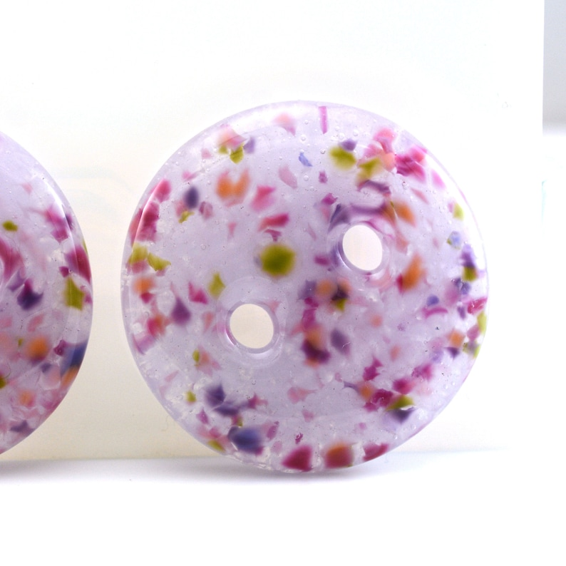Handmade Fused Glass Buttons Pair Luscious Lavender 1.7