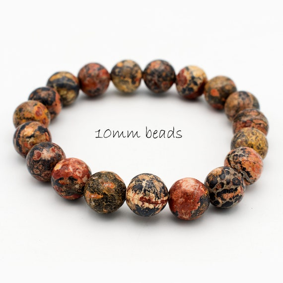 10mm Beautifully Polished Natural Undyed Leopardskin Jasper Gemstone Beaded Stretch Bracelet Latex Free Stretchy Bead Cord Yoga Bracelet