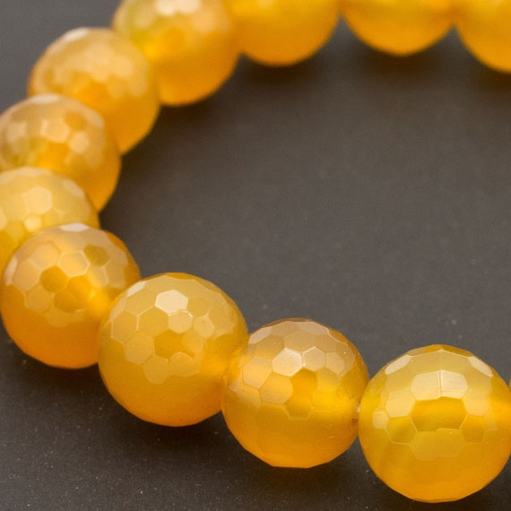 Pretty 12 mm NATURAL YELLOW JADE perles rondes Extensible Bracelet Jonc