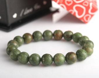 Green opal 10mm stretch bracelet | elastic beaded men's bracelet genuine semi precious gemstones