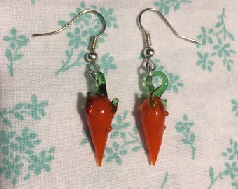 Orange Carrots Glass and Silver Earrings