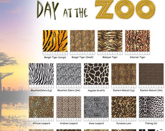 Day at the Zoo Animal Skin Prints 100% Cotton Fabric - 19 Prints