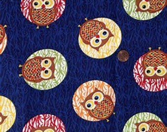 Moon Owls on Navy Cotton Fabric by the Yard