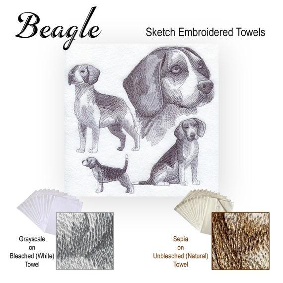 Poodle Dog Sketch Embroidered Factory Prewashed 100/% Cotton Flour Sack 28x 28 Kitchen Dish Towel Choose Colors