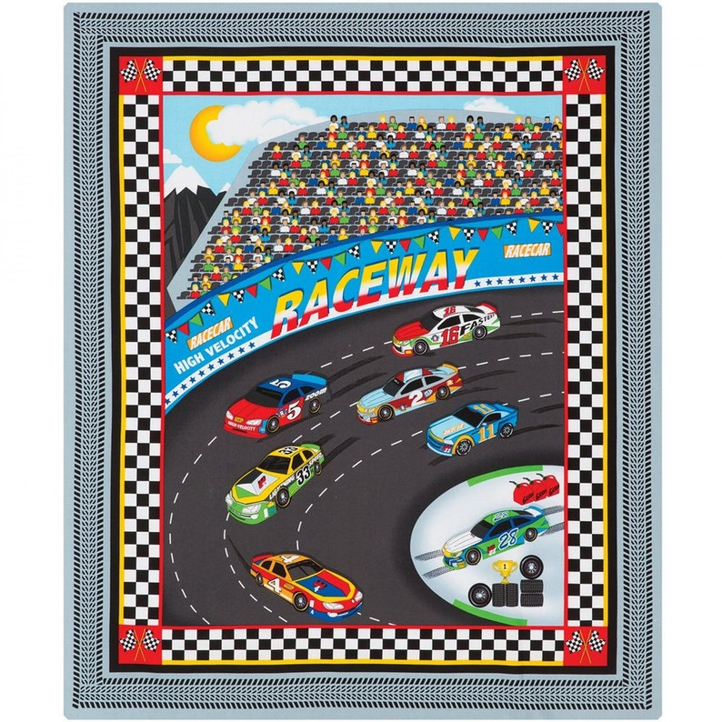 Race Car Boys Henry Glass Quilt Kit Fast Track Fabric Fast and Easy Holiday  Project Finished size will be app  35