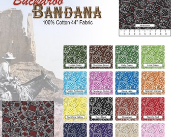 """Buckaroo Cotton Bandana Fabric 44"""" wide 18 Colors Available By the Yard"""