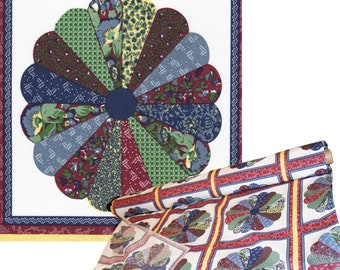 """90"""" Wide Cotton Cheater Quilt Tops 3 """"rows of squares"""" cut (1 yd) - Classic Americana Pinwheel - Burgundy and Blue on White"""