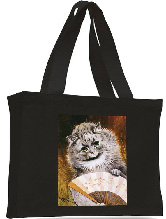 Louis Wain Gladstone Cat Cotton Shopping Bag with gusset and long handles,