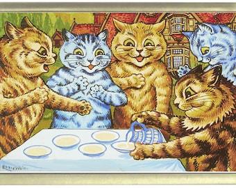 Louis Wain Garden Party Cats Fridge Magnet 7cm by 4.5cm