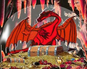 Dragons Hoard,  Fridge Magnet 7cm by 4.5cm,