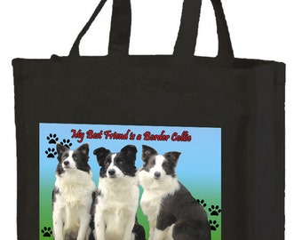 Border Collies Cotton Shopping Bag with gusset and long handles, 3 colour options