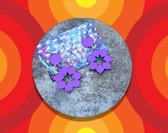Purple Mirror Mandala Dangles