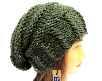75f0687e944 Knitted army green tweed slouchy beanie hat women - irish hat - Slouch  Beanie - chunky hats - Knit Winter Fall Accessories