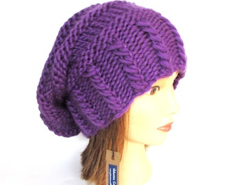 27a4ee5594a Bright purple slouchy beanie hat slouch hats beanies purple accessory for  women chunky knitted hat irish hand knit pure wool hat with button