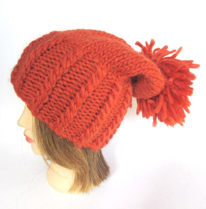e14147a6b3bd4 Burnt orange large pom pom hat slouch hat chunky knit hat warm