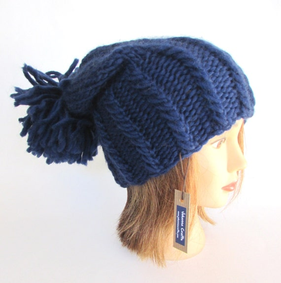 4be185e4123f1 Slouchy beanie hat navy blue slouch hat chunky knit slouchy