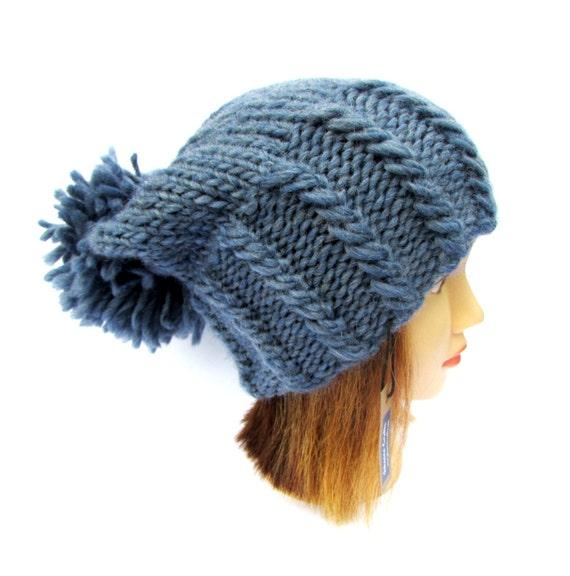 8e36bb4464a Denim blue hat blue knit hat with large pom pom chunky
