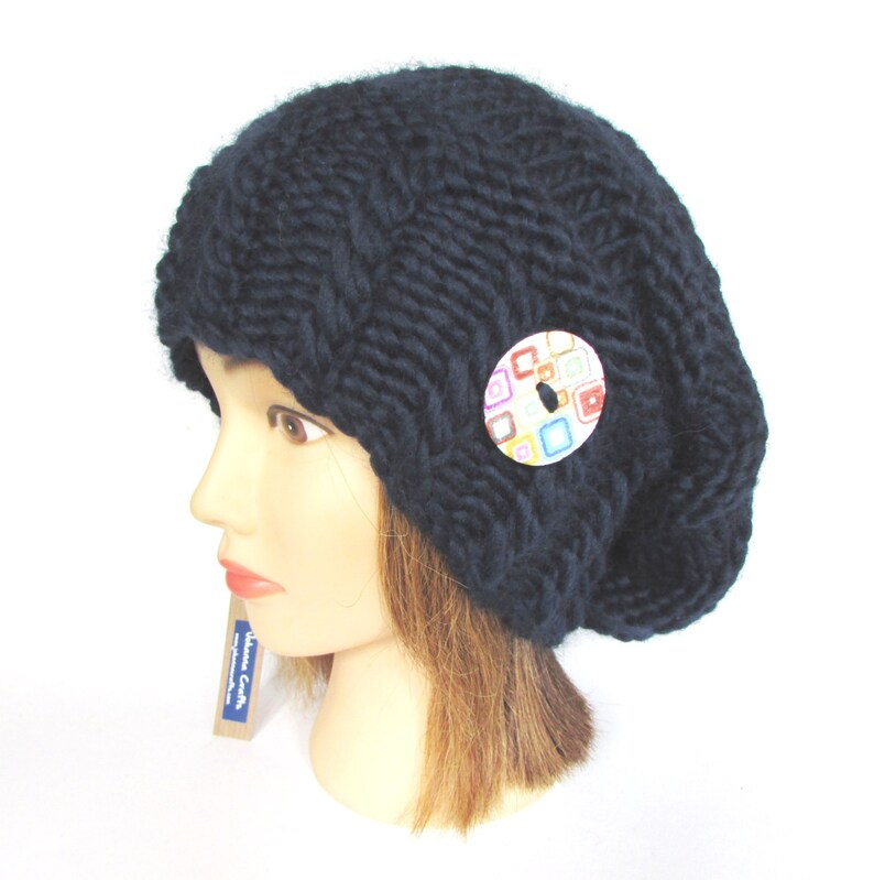 48a717e685d Slouchy beanie hat navy blue slouch hat chunky knit slouchy