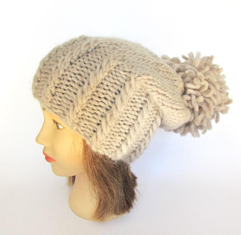 dbbb314bdf25a Big pompom slouch hat warm winter hat slouchy beanie