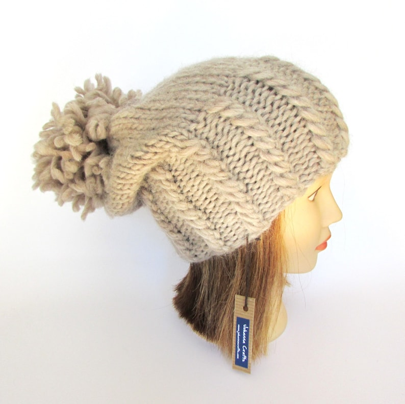 e32a26f4666 Big pompom slouch hat warm winter hat slouchy beanie