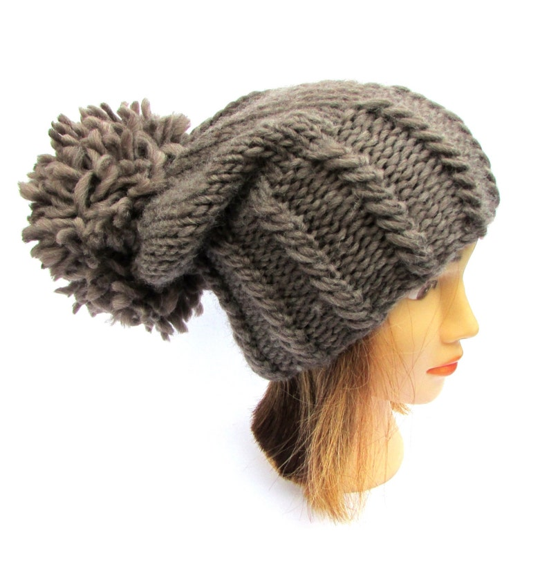 9759b9ce3ca63 Slouchy beanie hat taupe chunky knit hat wool dark beige