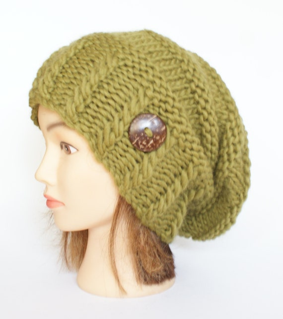 Olive green slouchy beanie hat Irish knitted slouch hat with  8f36eab63e5