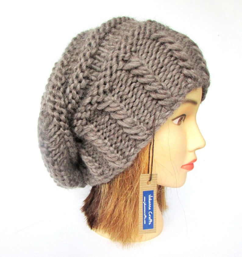 1051c06f68244 Slouchy beanie hat taupe slouch hat chunky knit slouchy hat