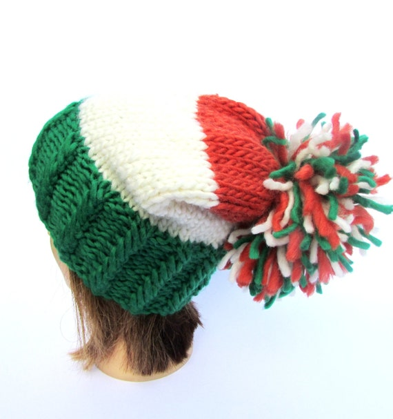 Made in Ireland knit hat green white orange hats large pompom  6390f444742