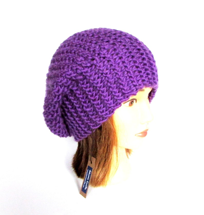 6473259cf03 Bright purple beret style hat slouch hat hat for women