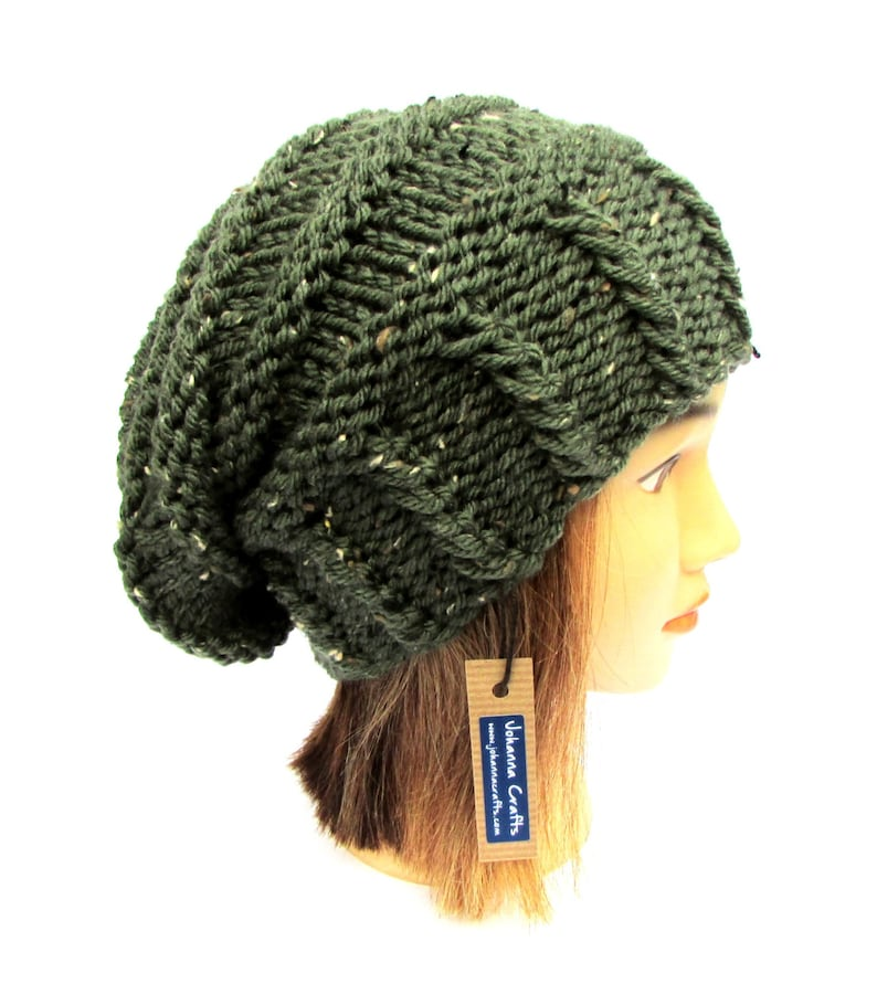 cc93e30cce844 Knitted army green tweed slouchy beanie hat women irish hat