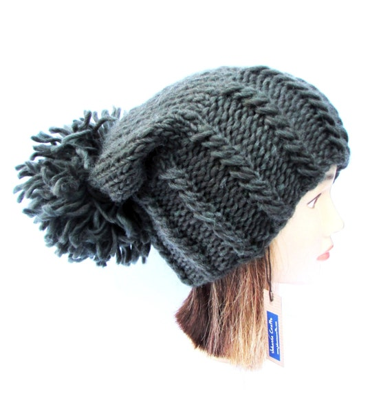 f82d1c6e8b6 Hand knit army green slouchy beanie hat with large pom pom