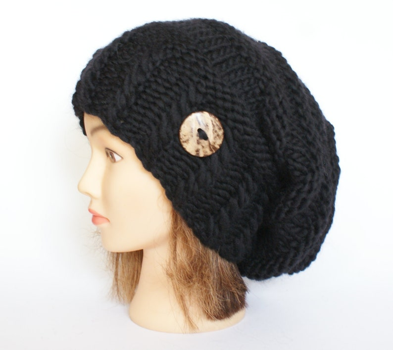 9db67f37803 Slouchy beanie hat black wool slouch hats chunky knit beanies