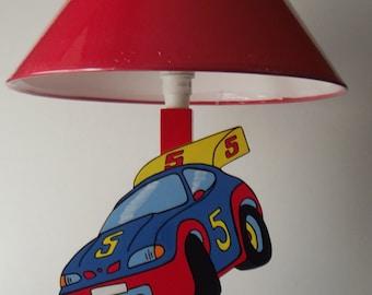 Wooden kids bedside lamp rally car