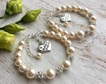 SWAROVSKI PEARL Mother Of The Groom Gift from Bride Bracelet, Mom Gift from Son, Mother-in-law gift Future Mother in Law Wedding Day Present