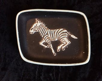 Wade Trinket Plate/Ashtray Zebra Pattern