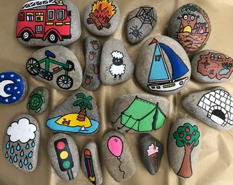 Adventure play story stones